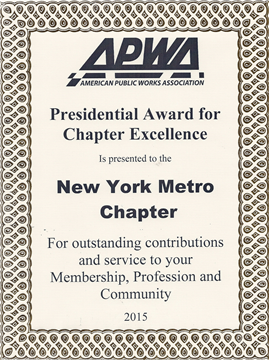 The Chapter has received the APWA PACE Award for the 11th time.